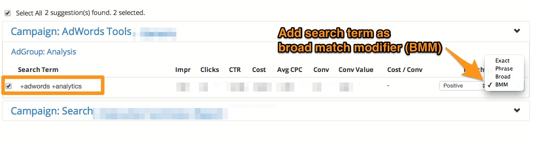 Keyword Lasso - Broad Match Modifier