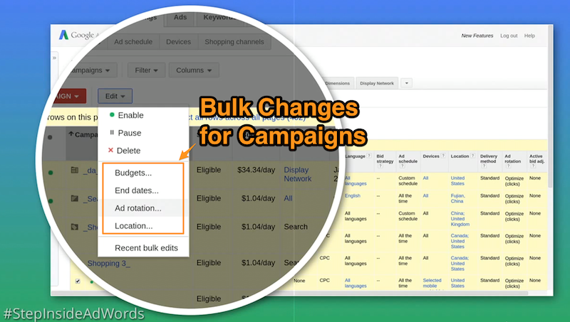 Make bulk changes to campaign settings in AdWords