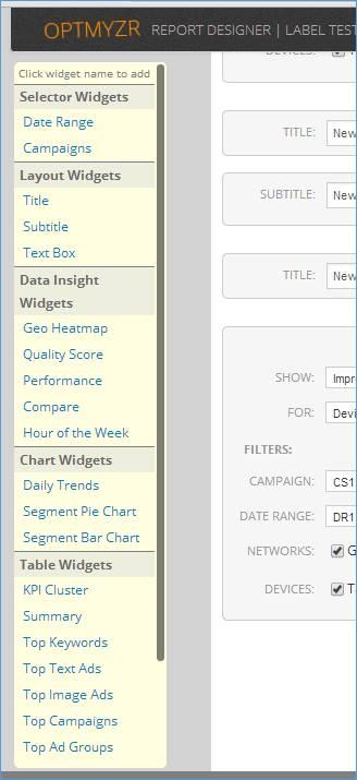 AdWords Custom Reports - Widget Picker