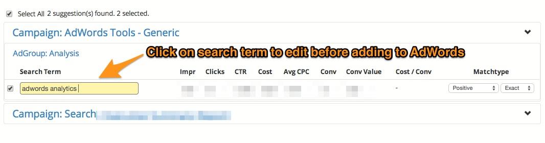 Keyword Lasso - In-line Edit