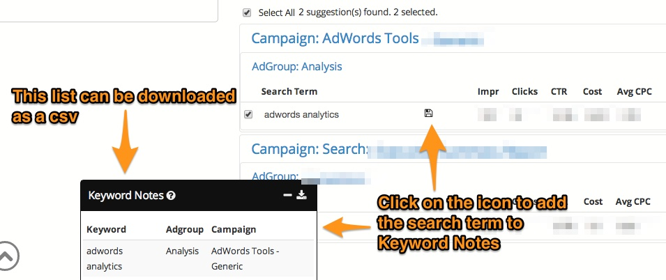 Keyword Lasso - Keyword Notes