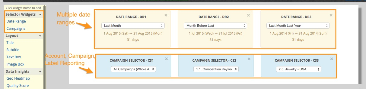 Date and Campaign Selector