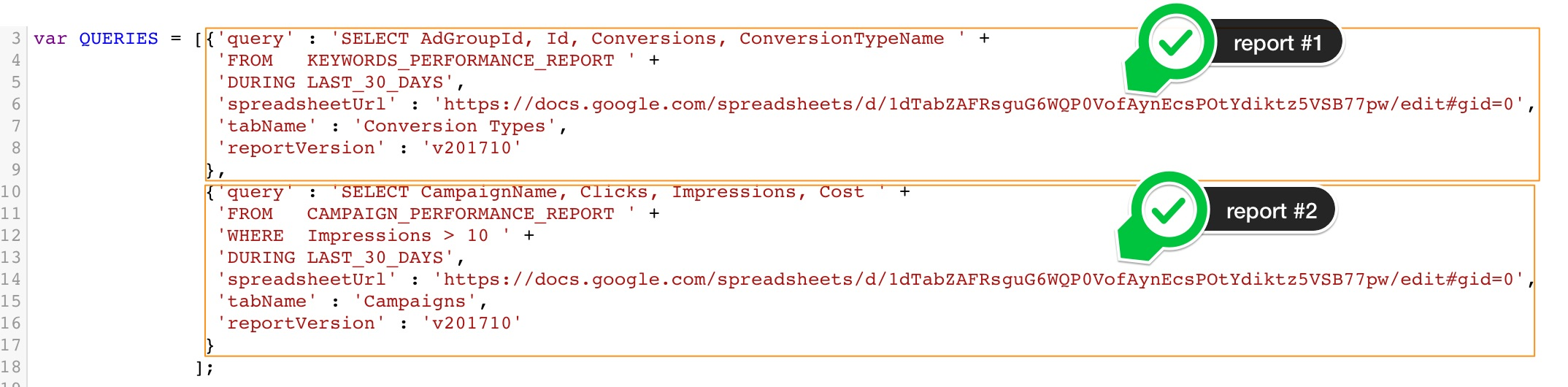 Queries to Put AdWords Reports in Spreadsheet