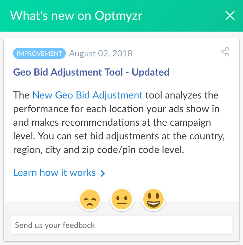 Optmyzr Changelog In Beamer